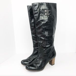 $398 Frye Nora 18L Pleated Boots Heel Leather 7.5